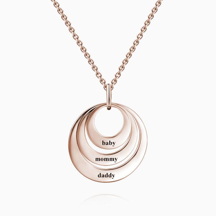 Gravierbare Drei Scheiben Halskette Rosa Gold Plattiert 925