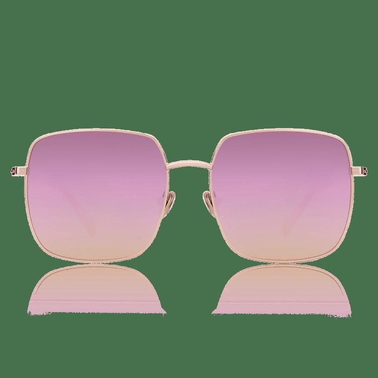 Quadratische Sonnenbrille mit Pink Linsen und Rosa Gold Rahmen - Neu