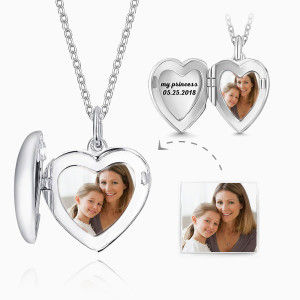 Buy Heart Personalized Engravable Photo Locket Necklace 925 Sterling Silver for $29.95 in Soufeel store