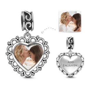 Buy Heart Dangle Engraved Photo Charm Silver for $25.95 in Soufeel store