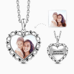 Buy Heart Personalized Engravable Photo Necklace 925 Sterling Silver for $35.95 in Soufeel store