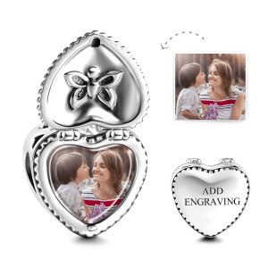Buy Heart Gift Box Engraved Photo Charm Silver for $35.95 in Soufeel store