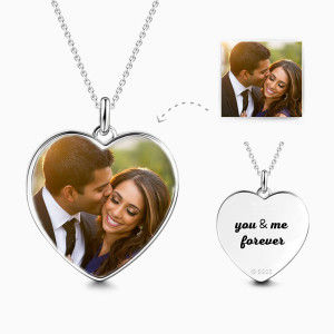 Buy Heart Personalized Engravable Photo Necklace 925 Sterling Silver for $49.95 in Soufeel store