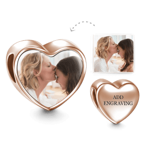 Buy Heart Engraved Photo Charm Rose Gold Plated Silver for $39.95 in Soufeel store
