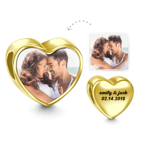 Buy Heart Engraved Photo Charm Heart 14k Gold Plated for $35.95 in Soufeel store