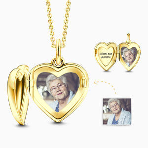 Buy Engraved Heart Photo Locket Necklace 14k Gold Plated Silver for $59.00 in Soufeel store