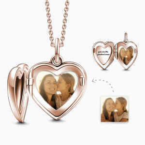 Buy Engraved Heart Photo Locket Necklace Rose Gold Plated for $39.95 in Soufeel store