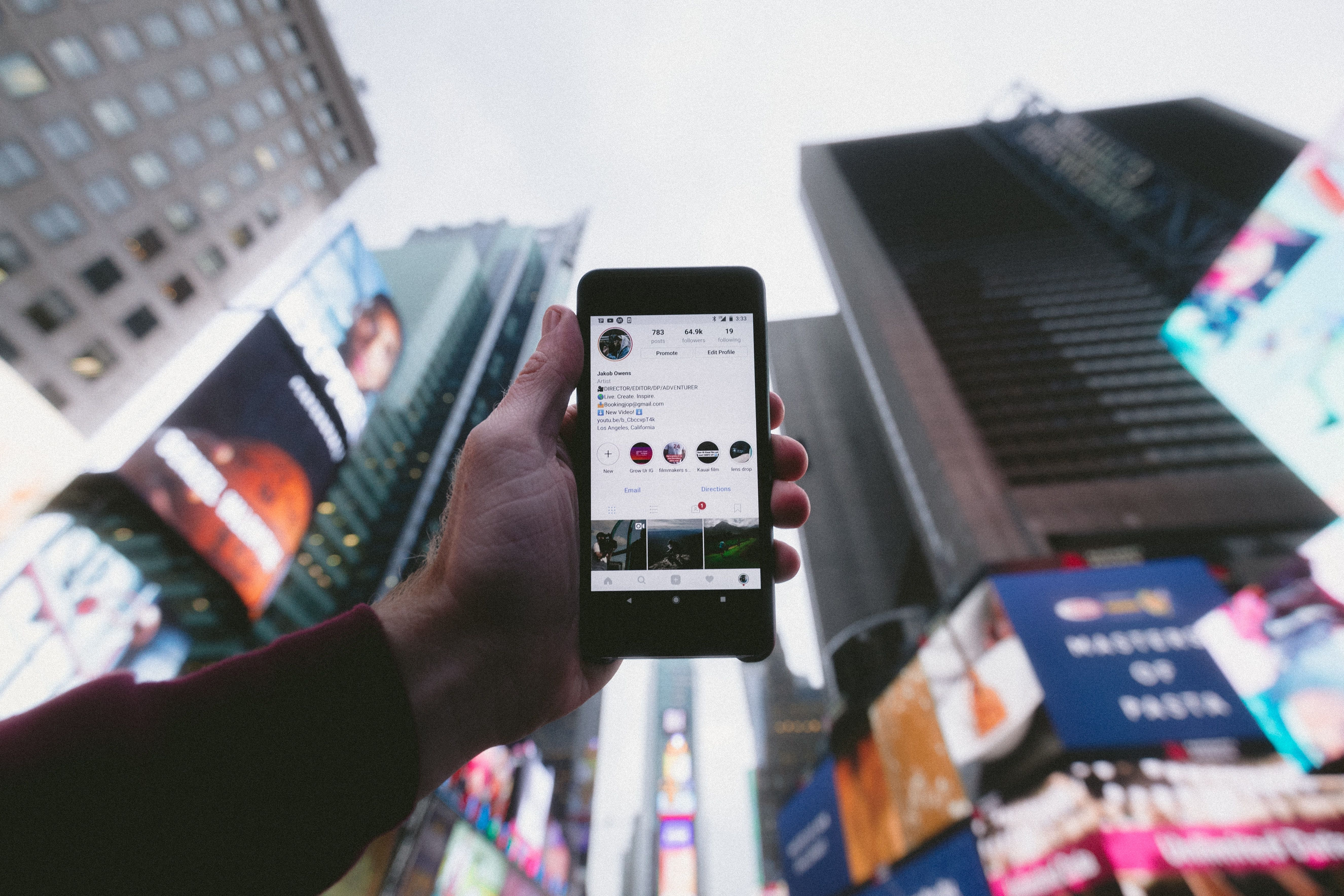 Mobile Phone against Times Square