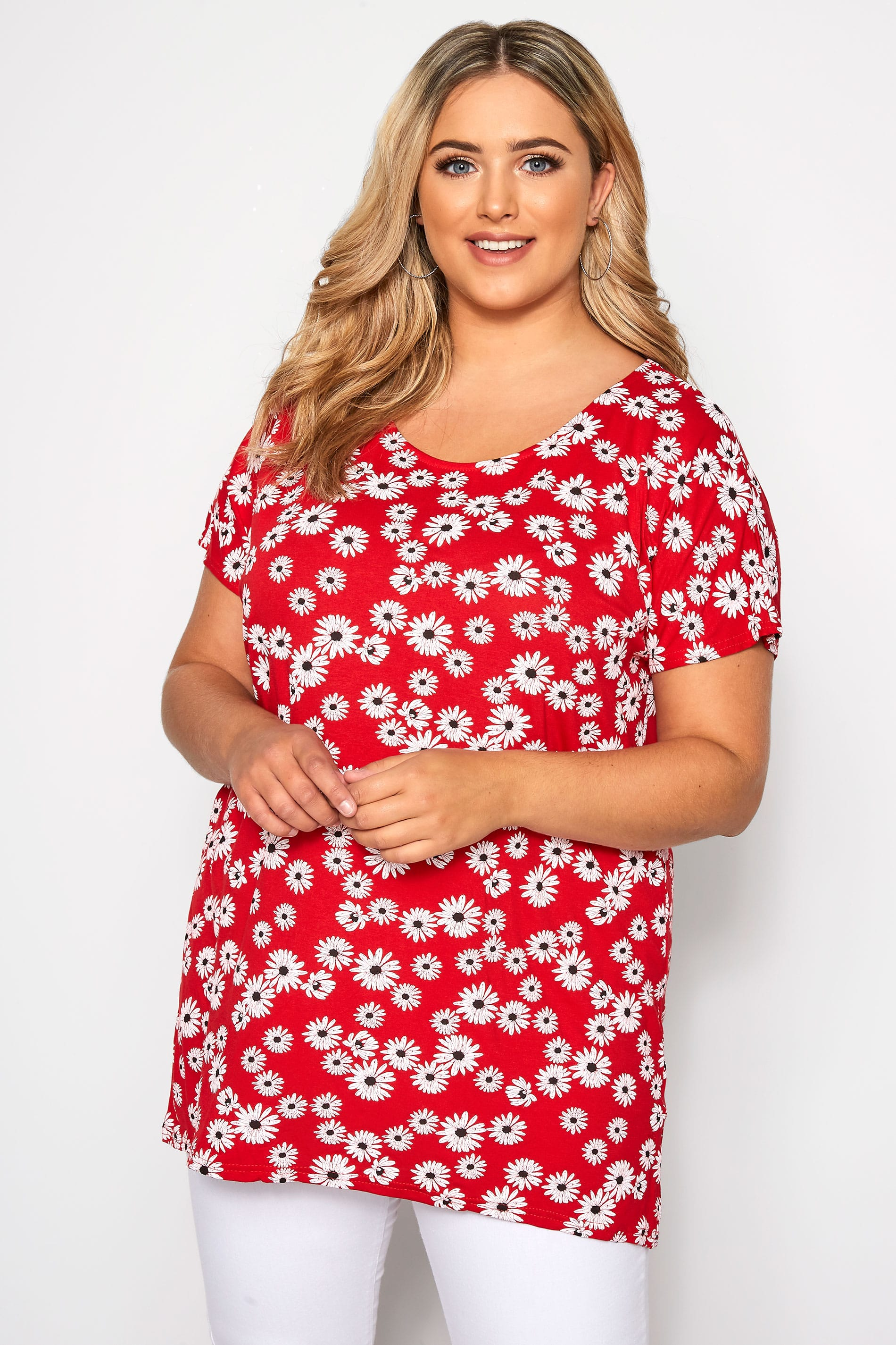 Yours Clothing Women/'s Plus Size Mustard Daisy Dipped Hem T-shirt