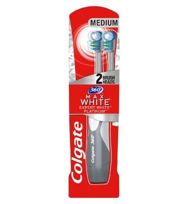 Colgate 360 Max White One Platinum 2 Head Battery Toothbrush