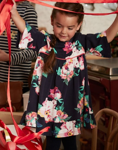 Joules Girls Adaline Woven Dress With Peplum Frill in NAVY GRANNY FLORAL