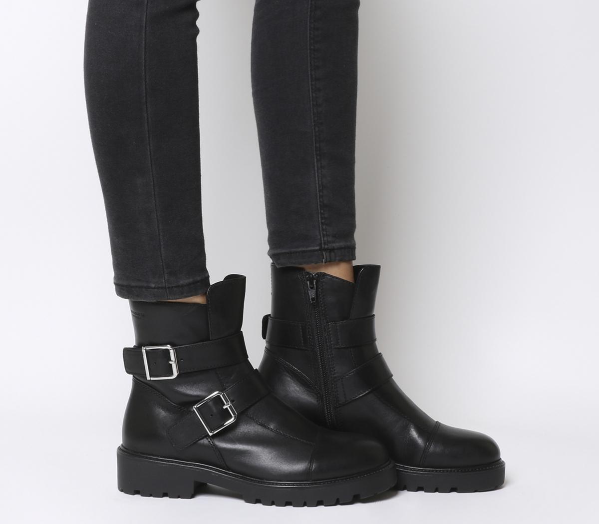 Vagabond Womens Meja Leather Buckle Zip Boot Black