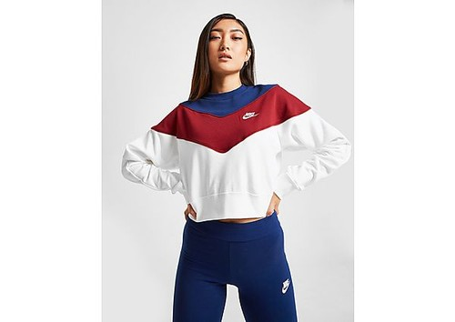 Posesión Hobart tierra  Nike Heritage Colour Block Crew Sweatshirt - White - Womens ...