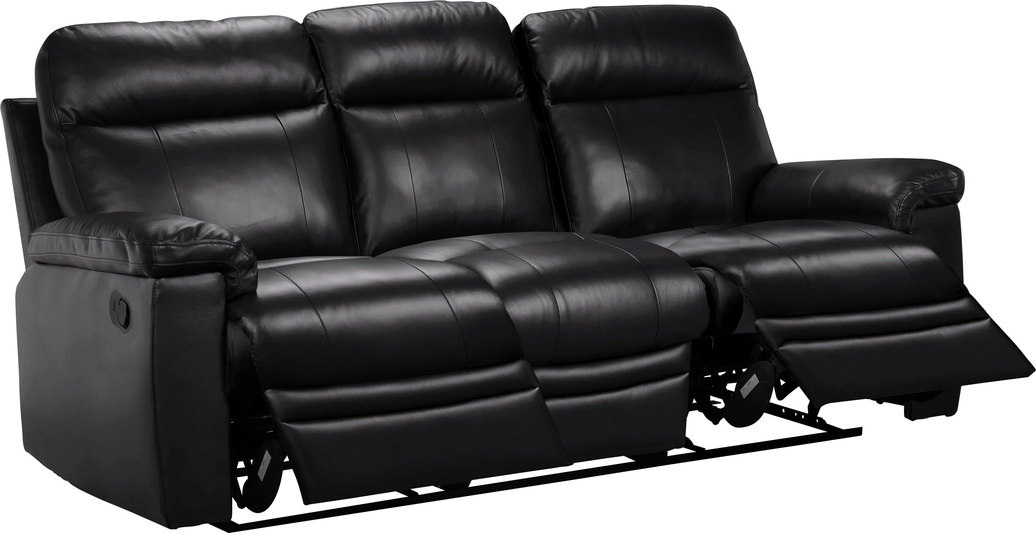 Argos Home Bruno 3 Seat Leather Eff Manual Recliner Sofa