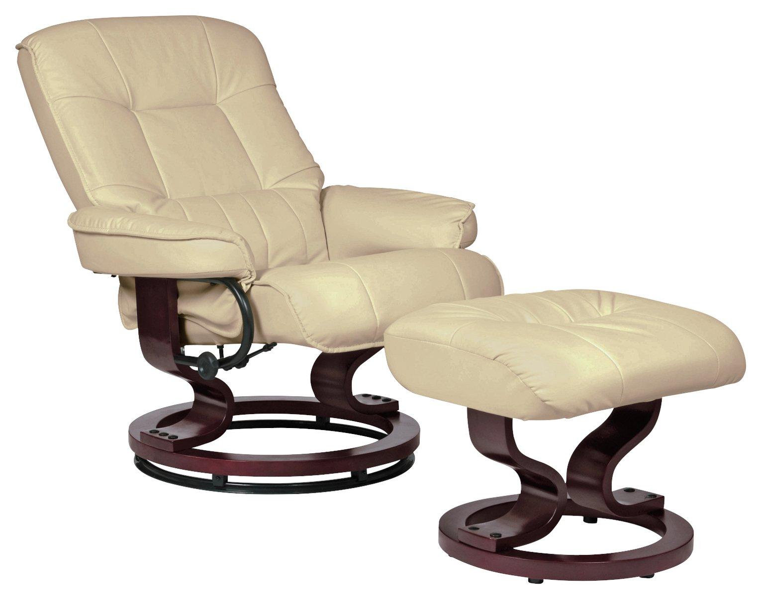 Argos Home Santos Recliner Chair and Footstool Dark Brown