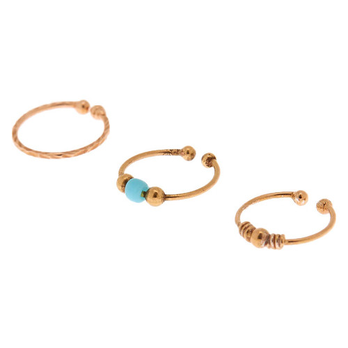 Claire S Rose Gold Sterling Silver Mixed Beads Faux Nose Rings 3