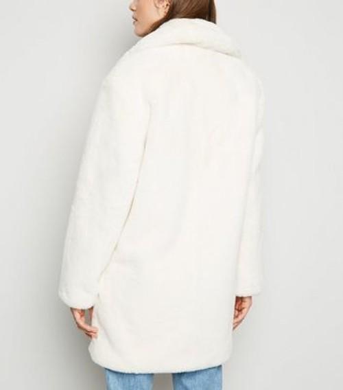 White Faux Fur Longline Coat New Look, New Look White Faux Fur Longline Coat