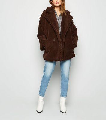 Blue Vanilla Cream Oversized Teddy Coat | New Look