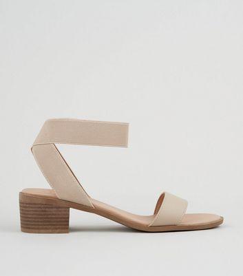 Wide Fit Cream Elastic Strap Block Heel