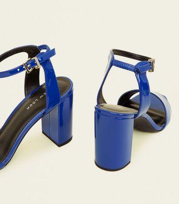 Blue Patent Block Heel Sandals New Look