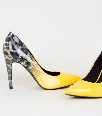 Yellow Ombré Leopard Print Court Shoes