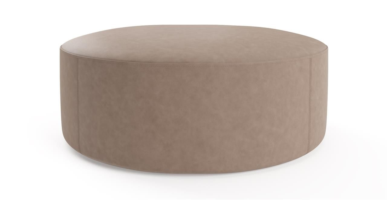 Picture Of Alexa Large Leather Round Ottoman Taupe