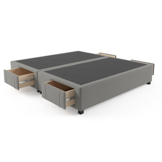 King Size Upholstered Bed Frame Base with Drawers Stone Grey (Only ...