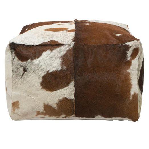 Miraculous Lorenzen Cow Hide Square Beanbag Pouffe Ottoman Brown Theyellowbook Wood Chair Design Ideas Theyellowbookinfo
