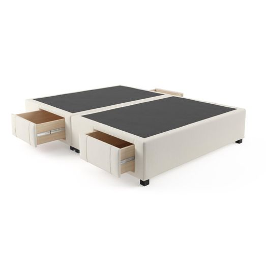 Queen Size Upholstered Bed Frame Base With Drawers Classic Cream