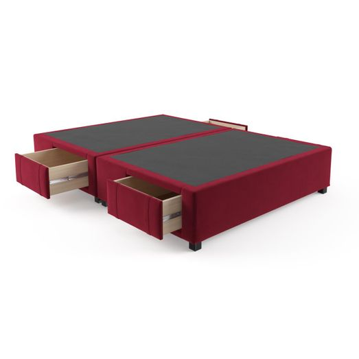 Queen Size Upholstered Bed Frame Base With Drawers Venetian Red