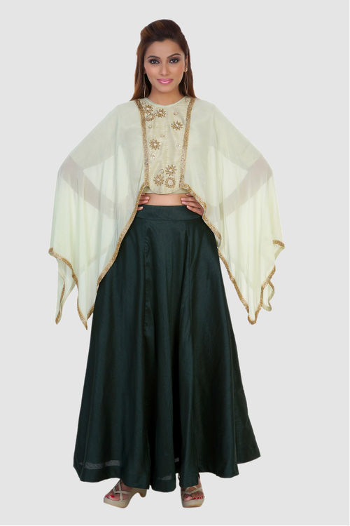 Green Cape Skirt Set