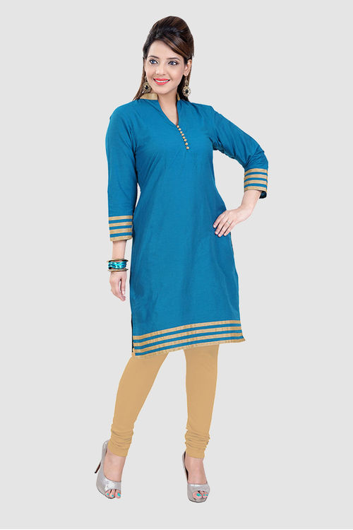 Blue Banarsi Cotton Kurti with dull gold stripes