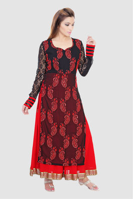Embroidered Georgette Kurta with Dupatta