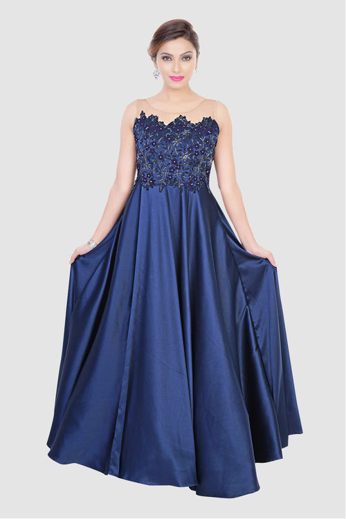 Blue Satin Silk Gown