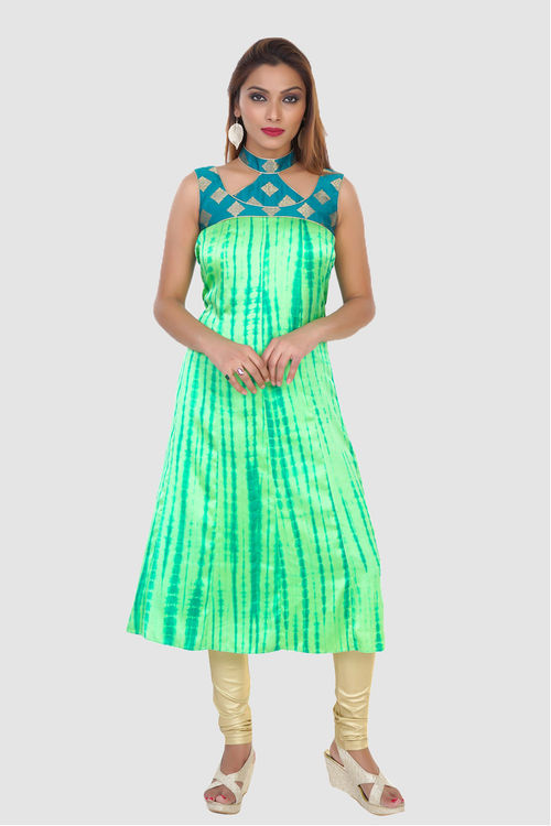 Green and Blue Cutout Kurti