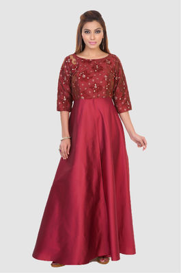 Maroon taffeta and net gown
