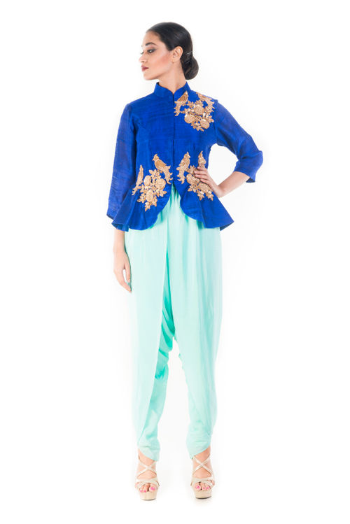 Midnight Blue Peplum Top With a Turquoise Dhoti Pant
