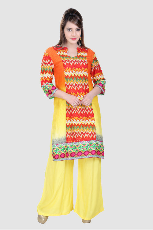 All Sunshine Hues in Cotton with Palazzo / Churidar