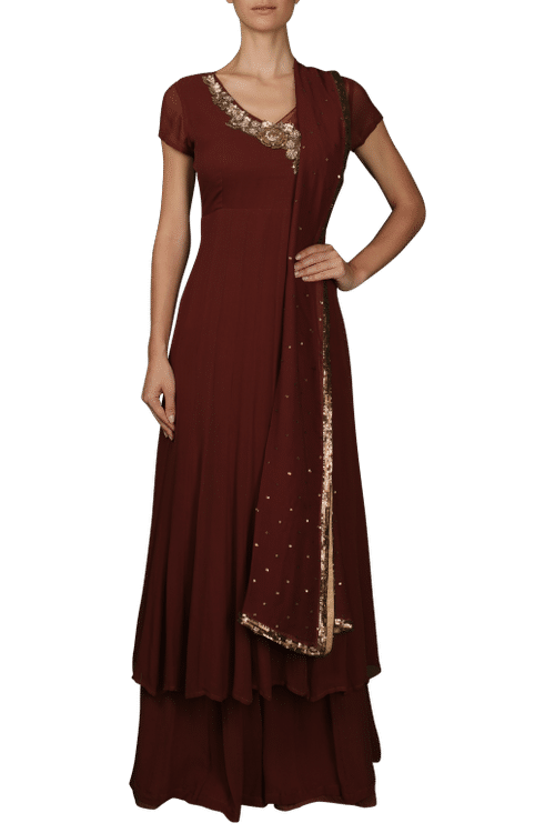 Brown Anarkali with Palazzos