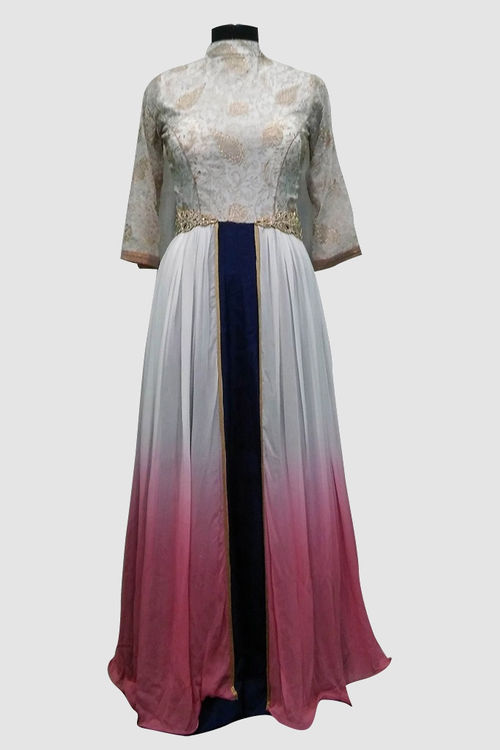 Gown with hand embroidered top and waist