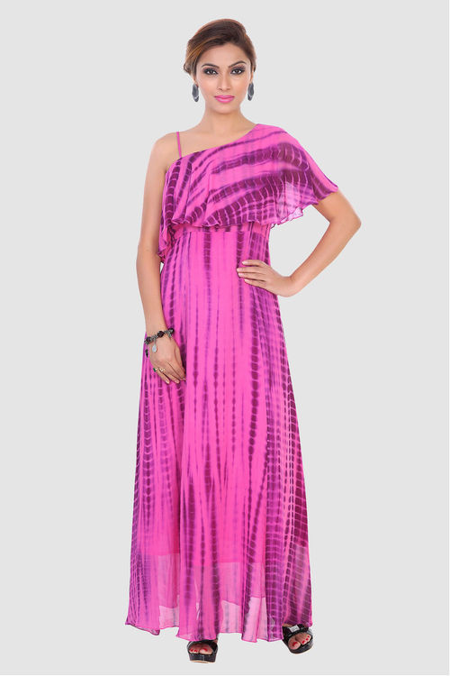Pink and Wine tie n dye gown