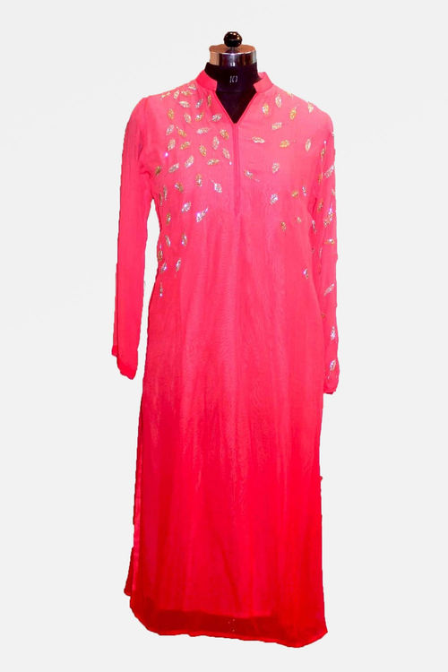 Shaded baby pink with gold Kardana work