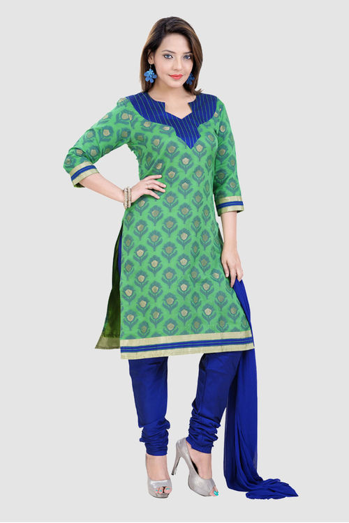 Green and Blue Chanderi Dress