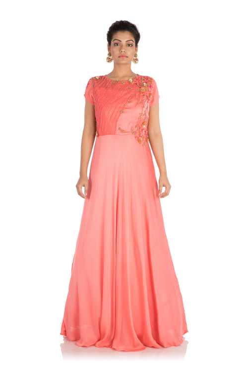 Hand embroidered Blush Pink Gown