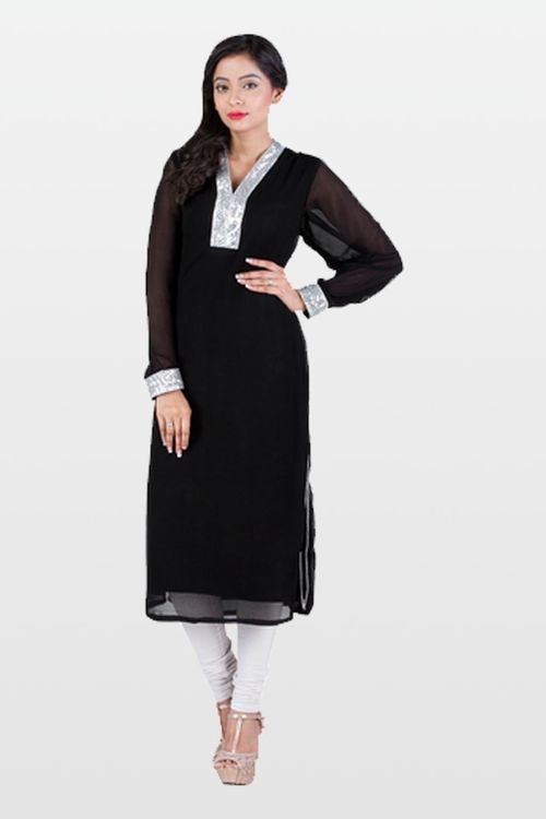 Black kurta with silver details