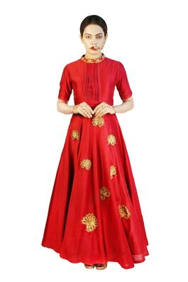 Chanderi Silk Gown with Zari and Beads