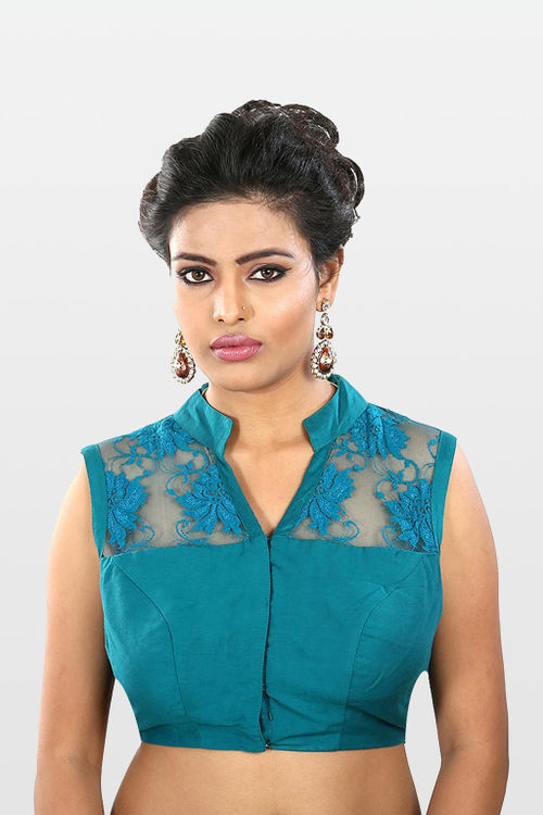 Peacock Blue Chantilly Lace Blouse