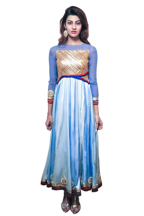 Satin and sequinned kurti