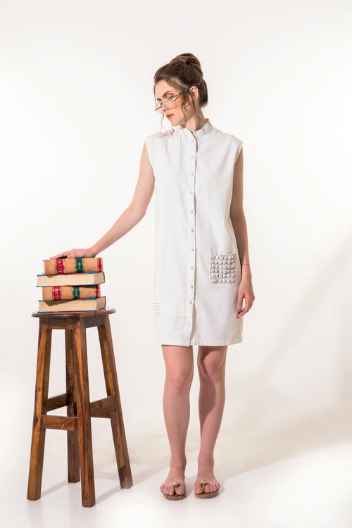 Off-white dress with buttoned pocket
