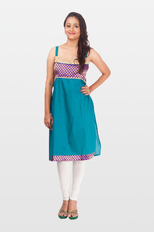 Chic royal blue cotton silk kurti